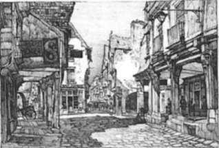 Print by Samuel Chamberlain: The Sheltered Street, Vitre, represented by Childs Gallery