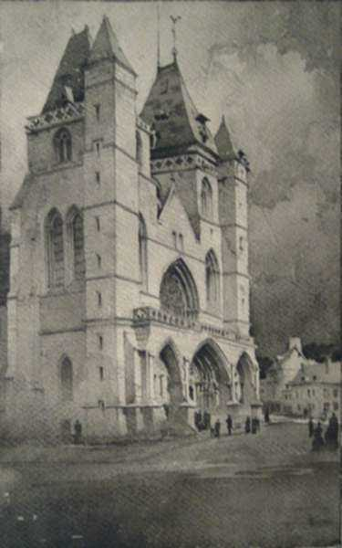 Drawing by Samuel Chamberlain: Untitled [Church at Les Andeles, France], represented by Childs Gallery