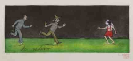 Print by Sandra Ramos: Carrera de revelo (Relay Race), diptych, represented by Childs Gallery