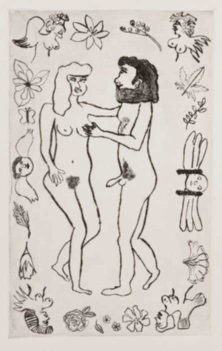 Print by Sara Zielinski: Adam and Eve, represented by Childs Gallery