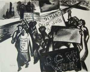 Drawing by Seymour Fogel: [We Demand Our Jobs], represented by Childs Gallery