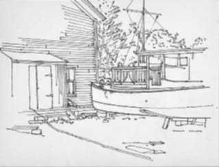 Drawing by Stow Wengenroth: Boat in Drydock [Eastern Long Island, New York], represented by Childs Gallery