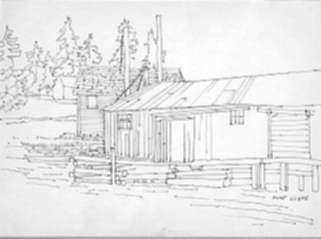 Drawing by Stow Wengenroth: River Cabin, Port Clyde, represented by Childs Gallery