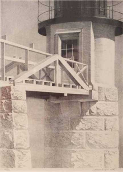 Print by Stow Wengenroth: Tower Door, Port Clyde, Maine, represented by Childs Gallery