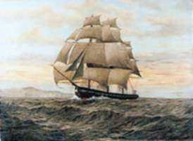 Painting by T. Bailey: Clipper Ship in Full Sail, represented by Childs Gallery