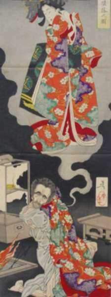 Print by Taiso Yoshitoshi: The Depravity of Seigen, represented by Childs Gallery