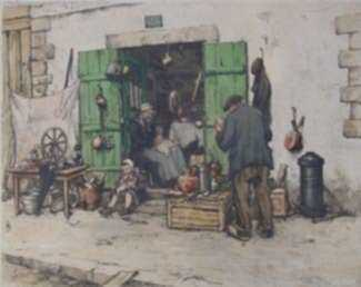 Print by Tavik Frantisek Simon: Bric a Brac [Brittany], represented by Childs Gallery