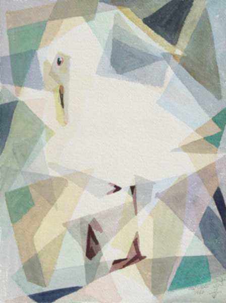 Watercolor by Ted Davis: Careful Gull [Monhegan, Maine], represented by Childs Gallery
