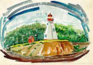 Watercolor by Ted Davis: Lubec, Maine, represented by Childs Gallery