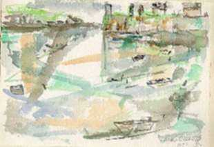 Watercolor by Ted Davis: Monhegan, Maine, represented by Childs Gallery
