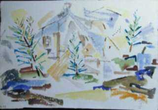 Watercolor by Ted Davis: Monhegan Village, Maine, represented by Childs Gallery
