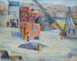 Painting by Ted Davis: New York Rooftops, represented by Childs Gallery