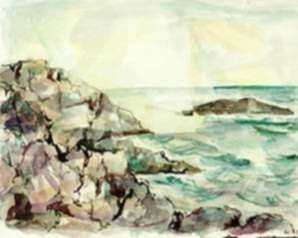 Watercolor by Ted Davis: Sun Over High Duck Rock, represented by Childs Gallery