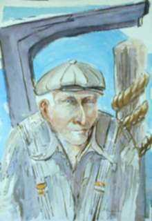 Watercolor by Ted Davis: The Harbormaster [Monhegan, Maine], represented by Childs Gallery