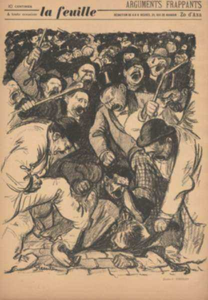 "Print by Théophile Alexandre Steinlen: Arguments Frappants, from ""La Feuille"", represented by Childs Gallery"