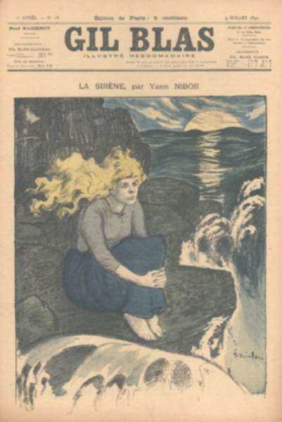 "Print by Théophile Alexandre Steinlen: La Sirène, from ""Gil Blas"", represented by Childs Gallery"