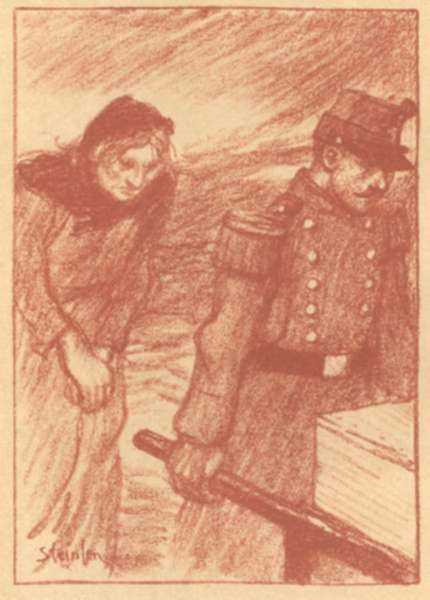 Print by Théophile Alexandre Steinlen: L'Enterrement (The Burial), represented by Childs Gallery