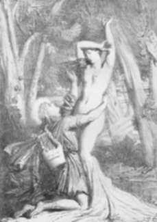 Print by Theodore Chasseriau: Apollon et Daphne, represented by Childs Gallery