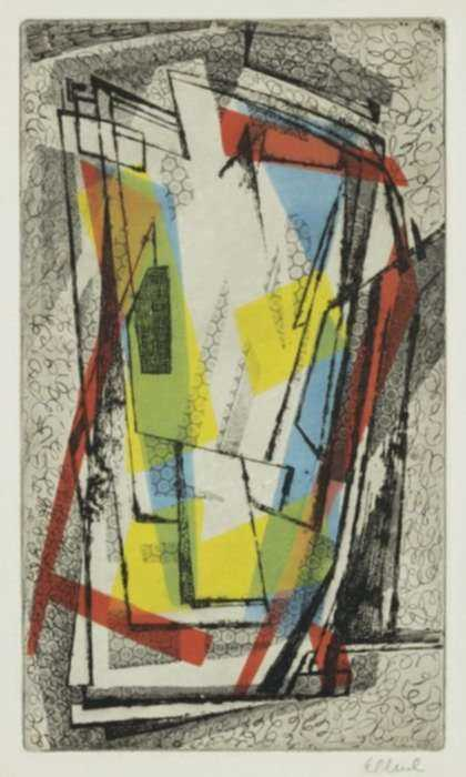 Print by Thomas B.  Eldred: [Abstract Composition in Blue, Red and Yellow], represented by Childs Gallery