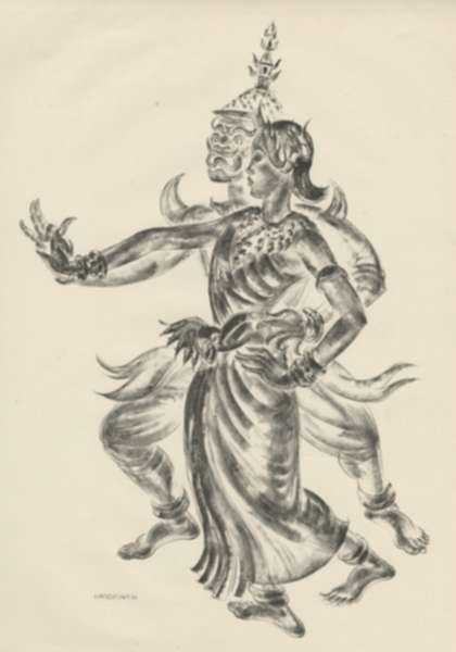 Print by Thomas Handforth: Maid & Ravenna [Cambodia], represented by Childs Gallery