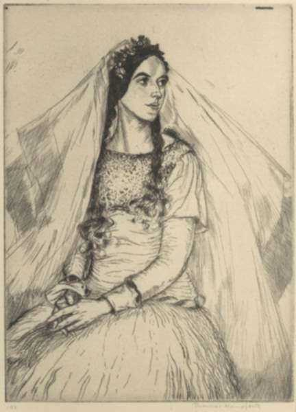 Print by Thomas Handforth: The Bride Francesca (Mexico), represented by Childs Gallery