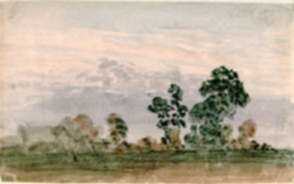 Watercolor by Thomas Lindsay: Trees at Evening, represented by Childs Gallery