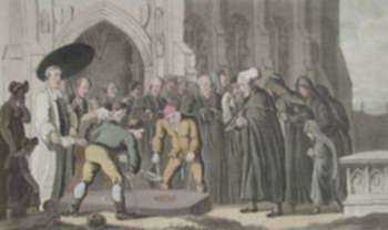 Print by Thomas Rowlandson: Dr. Syntax at the Funeral of His Wife, represented by Childs Gallery