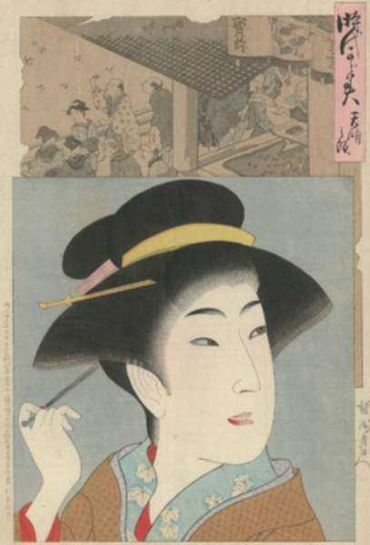 Print by Toyohara Chikanobu: Beauty in Tenmei Era, represented by Childs Gallery