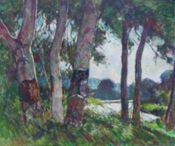 Painting by W. Lester Stevens: Birches on Route 2/Shelburne Falls, represented by Childs Gallery