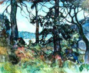 Painting by W. Lester Stevens: Carver's Cove, represented by Childs Gallery