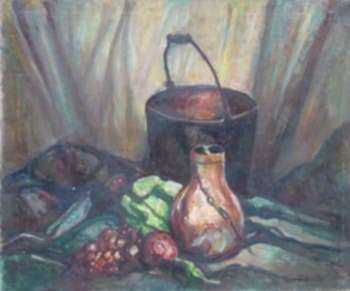 Painting by W. Lester Stevens: Copper Still Life, represented by Childs Gallery