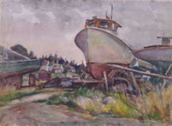 Watercolor by W. Lester Stevens: Drydock, Port Clyde, Maine, represented by Childs Gallery