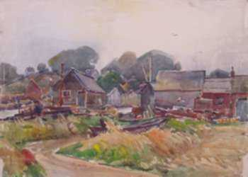 Watercolor by W. Lester Stevens: Fishing Village, represented by Childs Gallery