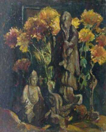 Painting by W. Lester Stevens: Flowers and Statue, represented by Childs Gallery