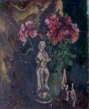 Painting by W. Lester Stevens: Geraniums, represented by Childs Gallery