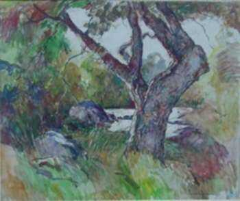 Painting by W. Lester Stevens: The Gnarled Tree, represented by Childs Gallery