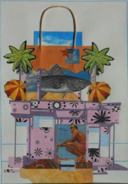 Collage by W. Perry Barton: Beach House II, represented by Childs Gallery