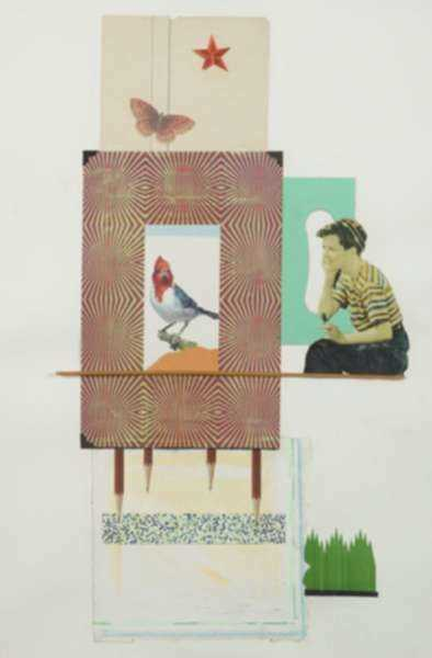 Collage by W. Perry Barton: Bird House, represented by Childs Gallery