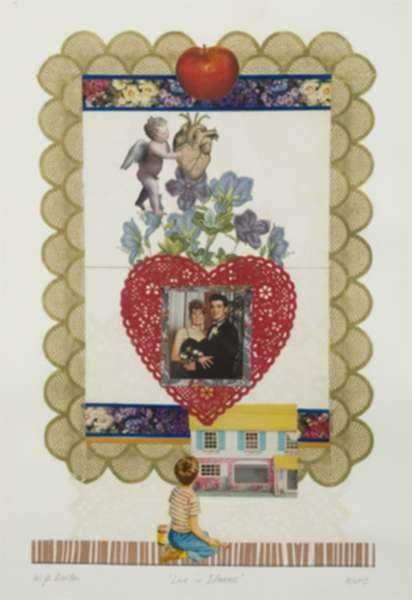 Collage by W. Perry Barton: Love in Idleness, represented by Childs Gallery