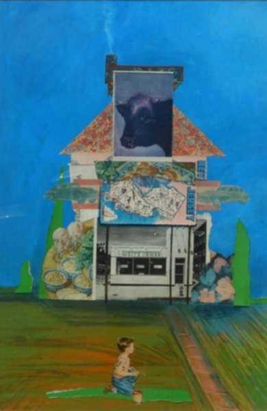 Collage by W. Perry Barton: New Jersey Architecture, represented by Childs Gallery