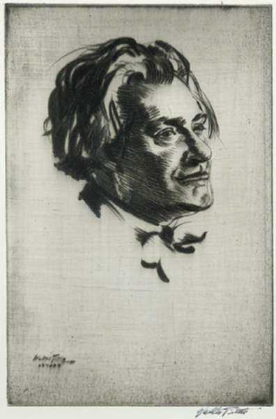 Print by Walter Tittle: Portrait of James McBey, represented by Childs Gallery