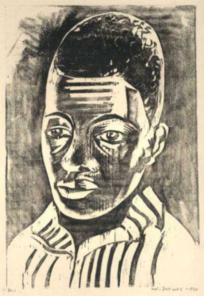 Print by Werner Drewes: Black Boy or Negro Boy (Negerjunge), represented by Childs Gallery