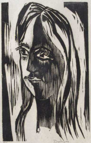 Print by Werner Drewes: Girl with Long Hair (Mädchen mit Langem Haar), represented by Childs Gallery