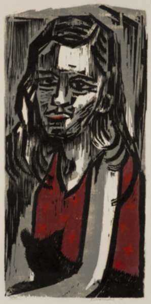 Print by Werner Drewes: Harlot with Cat, Julchen, represented by Childs Gallery