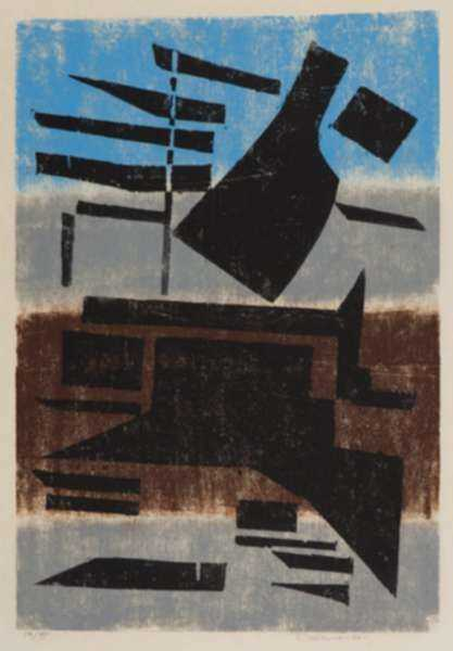 Print by Werner Drewes: Precarious Support, represented by Childs Gallery