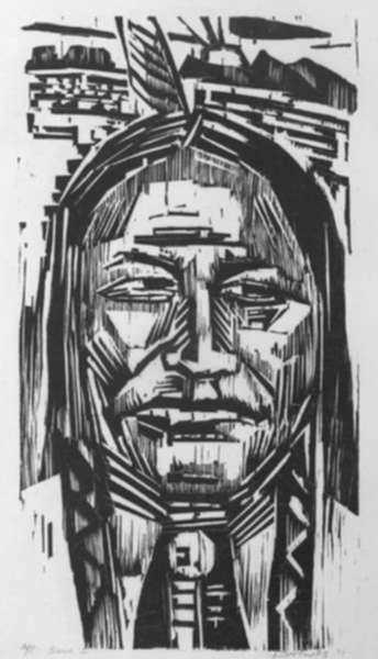 Print by Werner Drewes: Sioux Little Wolf (Sioux Kleiner Wolf), represented by Childs Gallery