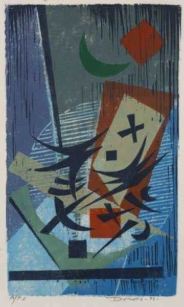 Print by Werner Drewes: The Green Moon, represented by Childs Gallery
