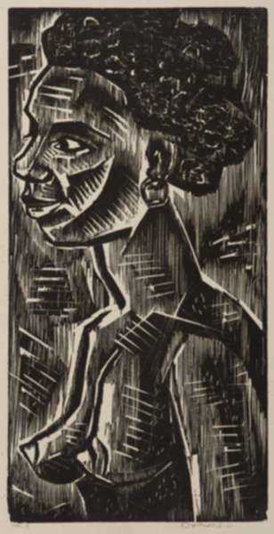 Print by Werner Drewes: Young Negress, represented by Childs Gallery