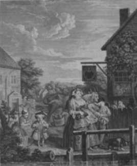 Print by William Hogarth: Four Times of the Day, Evening, represented by Childs Gallery