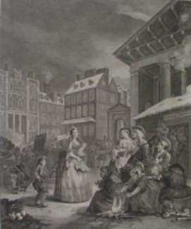 Print by William Hogarth: Four Times of the Day, Morning, represented by Childs Gallery
